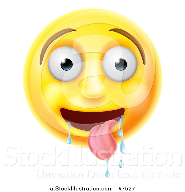 Vector Illustration of a 3d Yellow Smiley Emoji Emoticon Face Drooling