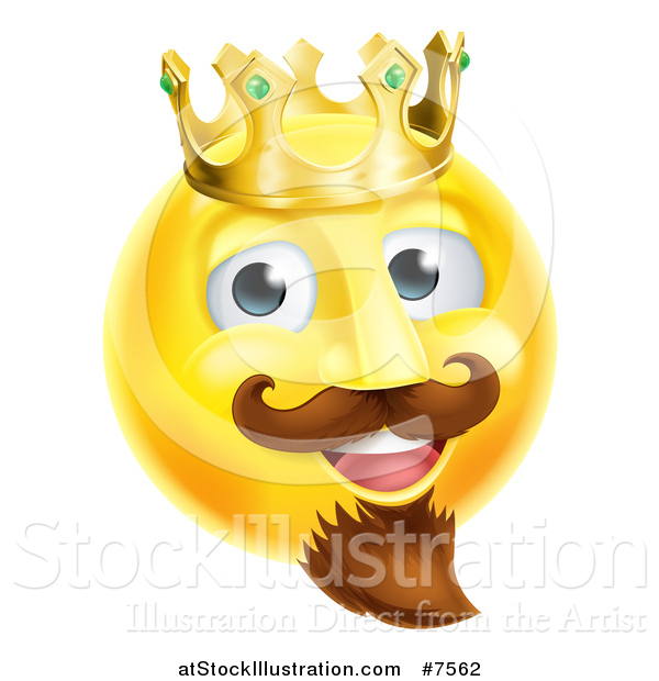 Vector Illustration of a 3d Yellow Smiley Emoji Emoticon Face King Wearing a Crown