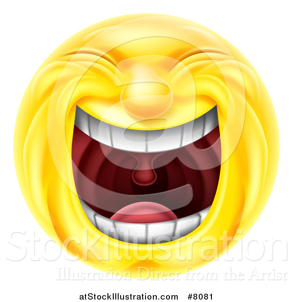 Vector Illustration of a 3d Yellow Smiley Emoji Emoticon Face Laughing Hysterically