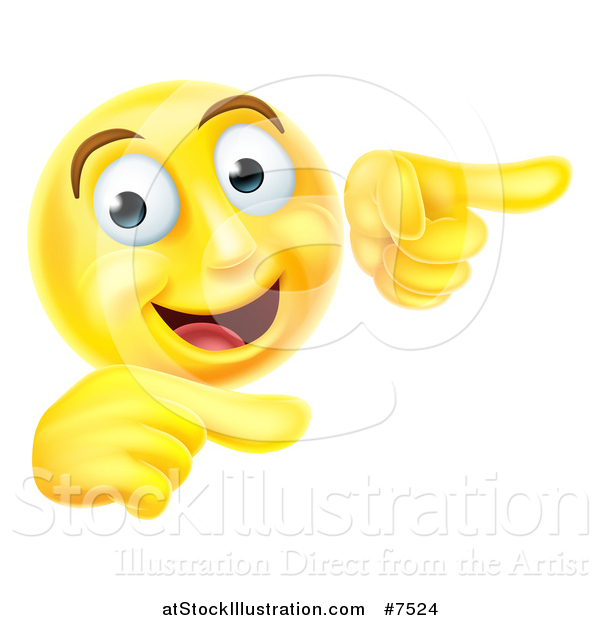 Vector Illustration of a 3d Yellow Smiley Emoji Emoticon Face Pointing to the Right