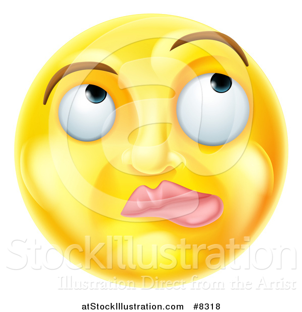 Vector Illustration of a 3d Yellow Smiley Emoji Emoticon Face Thinking