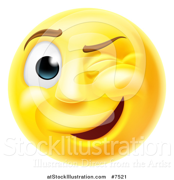 Vector Illustration of a 3d Yellow Smiley Emoji Emoticon Face Winking