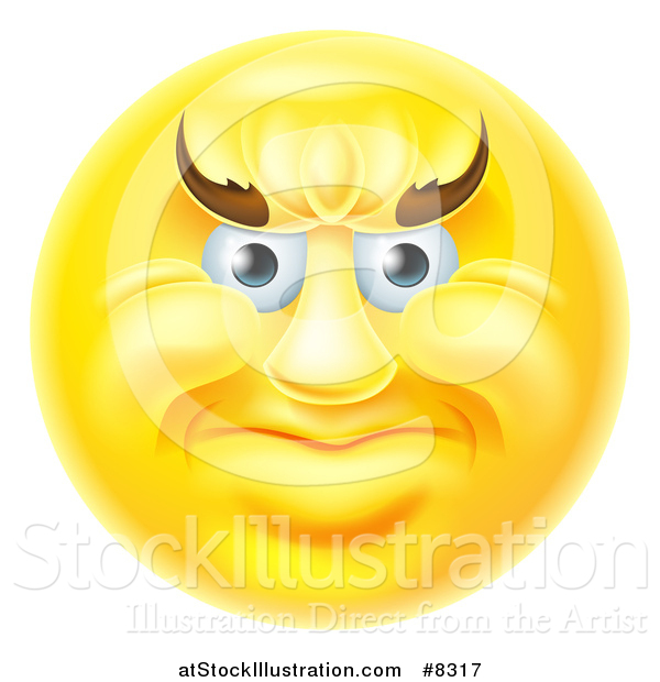 Vector Illustration of a 3d Yellow Smiley Emoji Emoticon Face with an Angry Expression