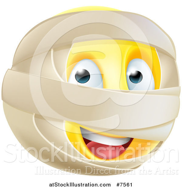 Vector Illustration of a 3d Yellow Smiley Emoji Emoticon Face with Mummy Wrappings