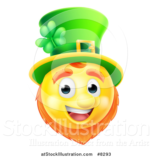 Vector Illustration of a 3d Yellow St Patricks Day Leprechaun Smiley Emoji Emoticon Face