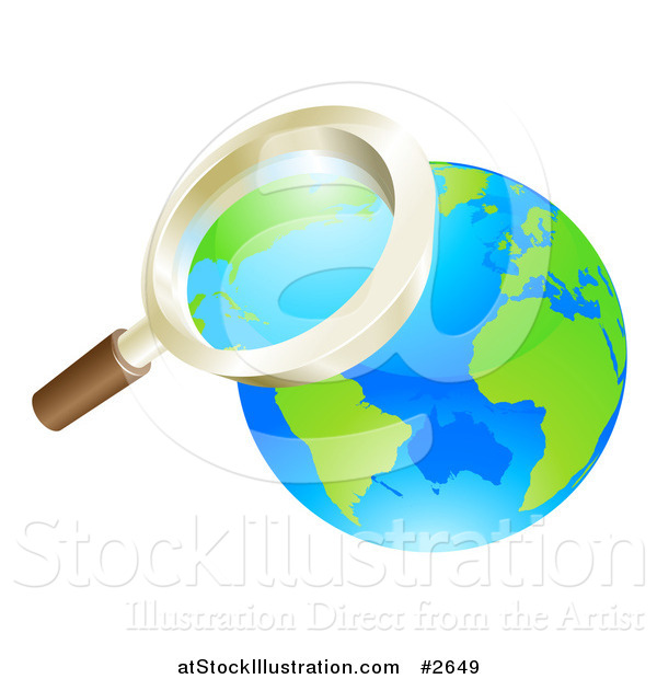 Vector Illustration of a 3d Zoom Magnifying Glass over Earth