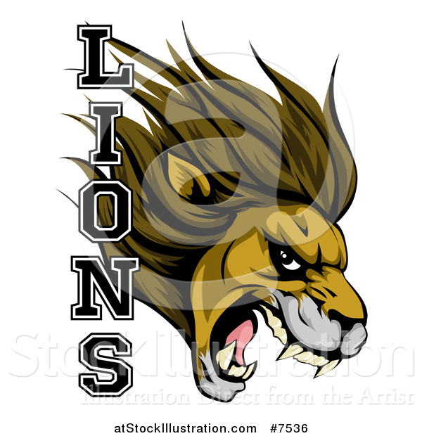 Vector Illustration of a Aggressive Male Lion Roaring Mascot Head and Text