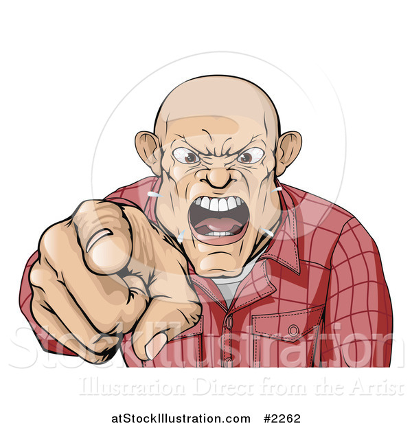 Vector Illustration of a Angry Skinhead Man Yelling and Pointing