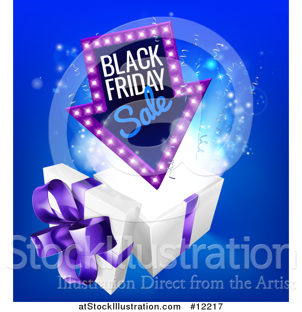 Vector Illustration of a Arrow Shaped Marquee Black Friday Sale Sign over a Christmas Gift Box