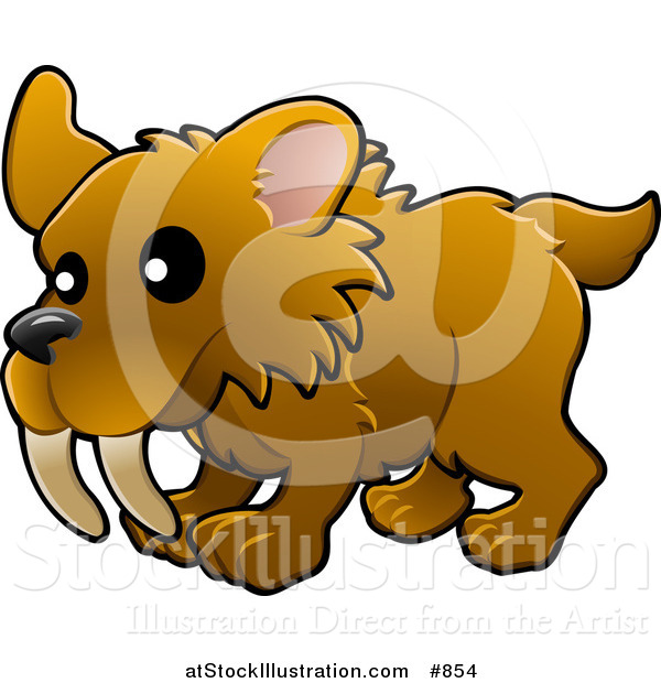 Vector Illustration of a Baby Brown Saber Tooth Tiger with Big Teeth