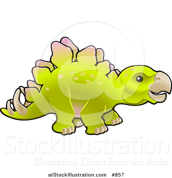 Vector Illustration of a Baby Green Stegosaur Dinosaur in Profile