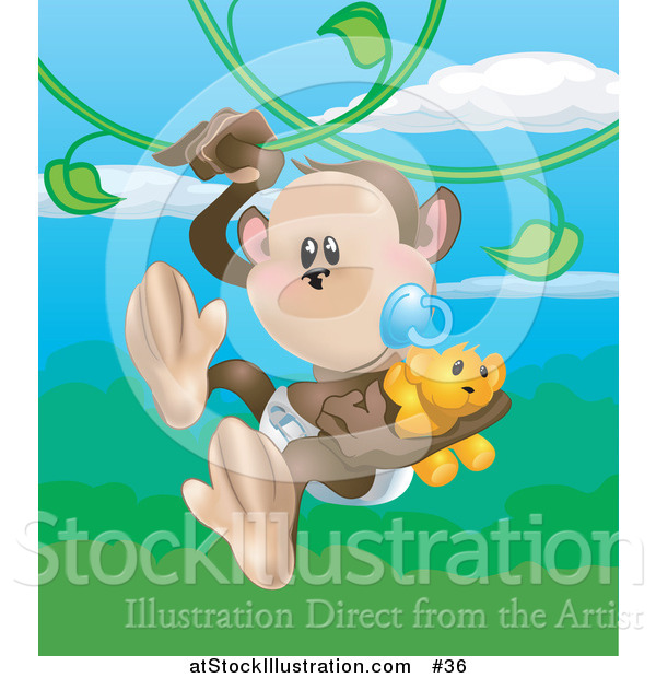 Vector Illustration of a Baby Monkey in a Diaper, Sucking a Pacifier While Carrying a Teddy Bear and Swinging on Vines in a Forest