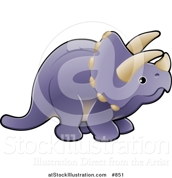 Vector Illustration of a Baby Purple Triceratops Dinosaur with Horns