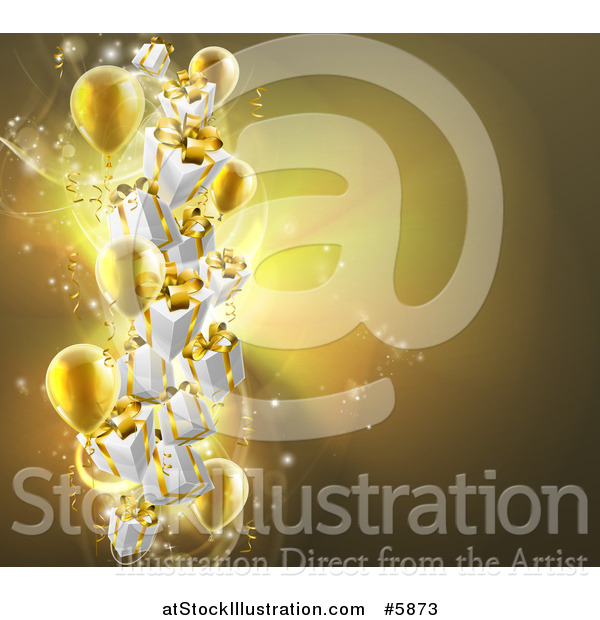 Vector Illustration of a Background of 3d Gold Party Balloons and Gifts