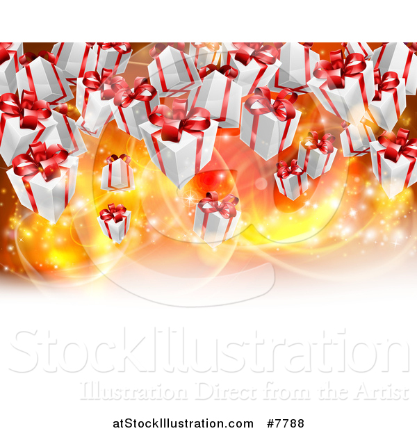 Vector Illustration of a Background of Birthday or Christmas Gift Boxes over Bright Lights with White Text Space