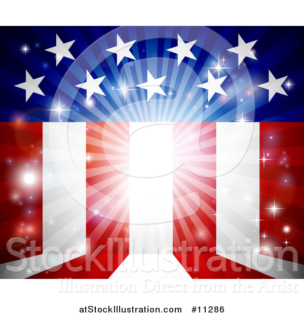 Vector Illustration of a Background of Flares and American Stars and Stripes