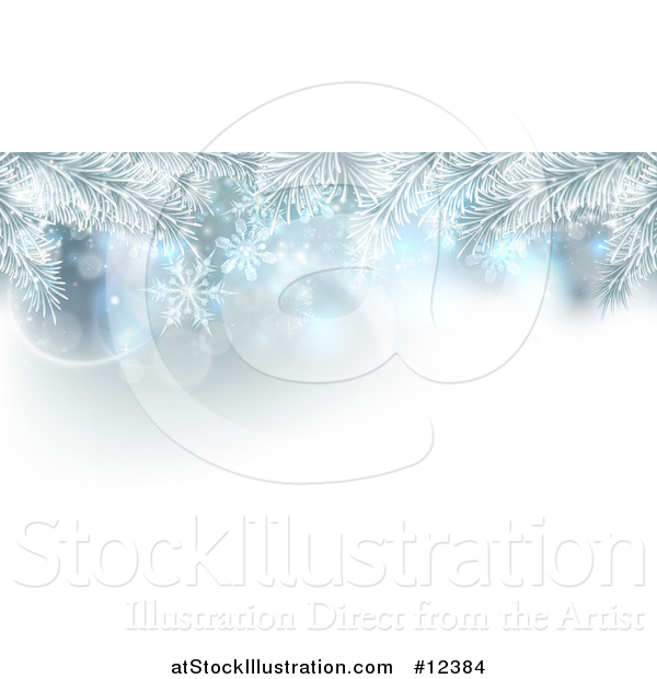 Vector Illustration of a Background of Frosted Christmas Tree Branches and Snowflakes