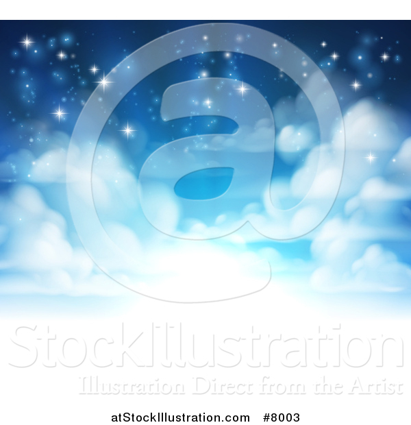 Vector Illustration of a Background of Heavenly Sky with Shining Light and Clouds