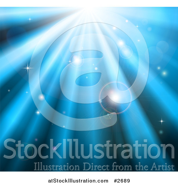 Vector Illustration of a Background of Orbs Sparkles and Blue Light Shining down