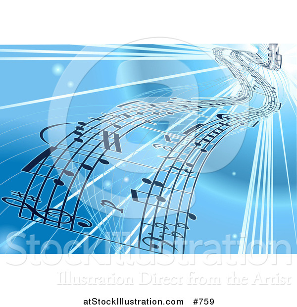 Vector Illustration of a Background of Sheet Music over Blue