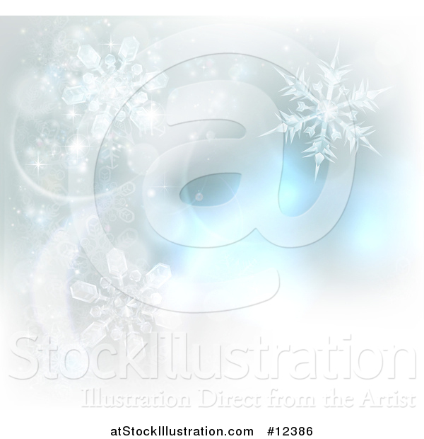 Vector Illustration of a Background of Winter Snowflakes and Flares