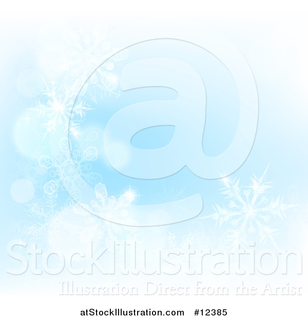 Vector Illustration of a Background of Winter Snowflakes and Flares on Blue