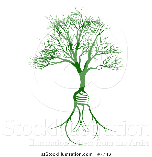 Vector Illustration of a Bare Tree with Light Bulb Shaped Roots