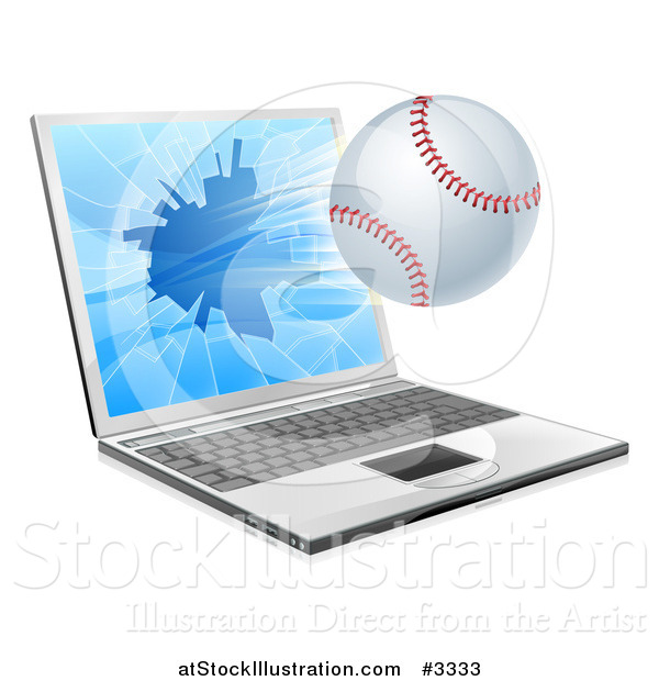 Vector Illustration of a Baseball Flying Through and Shattering a 3d Laptop Screen