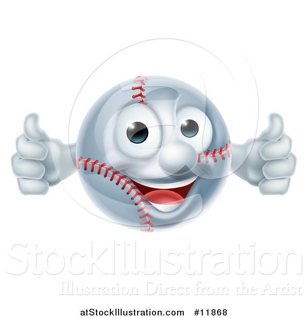 Vector Illustration of a Baseball Mascot Giving Two Thumbs up