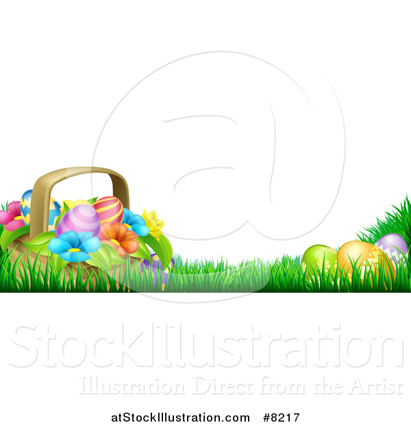 Vector Illustration of a Basket of Easter Eggs and Flowers in Grass, with Text Space