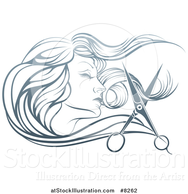 Vector Illustration of a Beatiful Woman's Face in Profile, with Long Hair and Scissors Snipping off a Lock