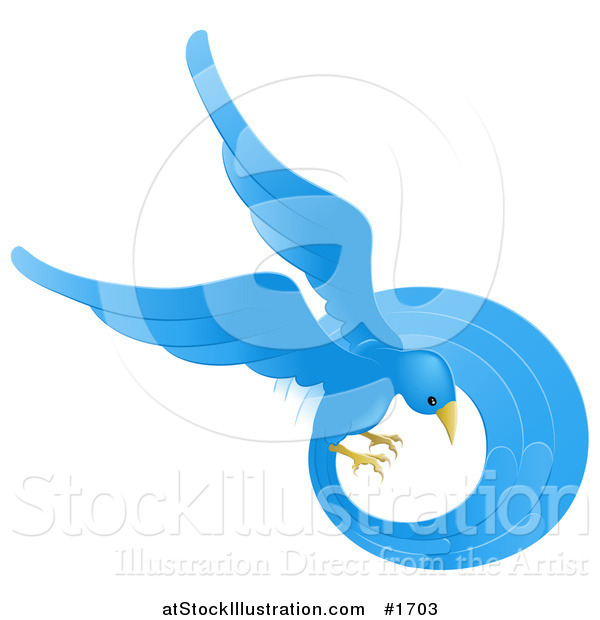Vector Illustration of a Beautiful Circling Blue Bird with a Long Feathered Tail