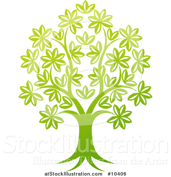Vector Illustration of a Beautiful Gradient Green Tree
