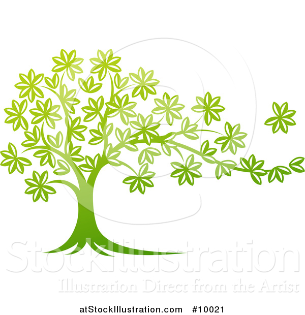 Vector Illustration of a Beautiful Gradient Green Tree with a Leaf Flying Away in the Breeze