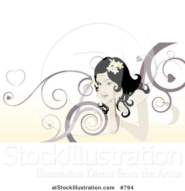 Vector Illustration of a Beautiful Woman with Swirl Background