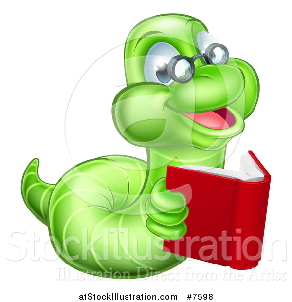 Vector Illustration of a Bespectacled Green Earthworm Holding a Book