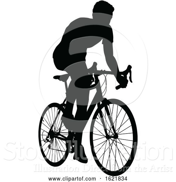 Vector Illustration of a Bicycle Riding Bike Cyclist in Silhouette