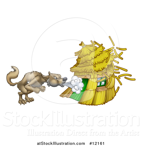 Vector Illustration of a Big Bad Wolf Blowing down a Straw House