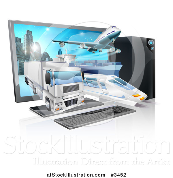 Vector Illustration of a Big Rig Airplane Cargo Ship and Train Emerging from a Desktop Computer