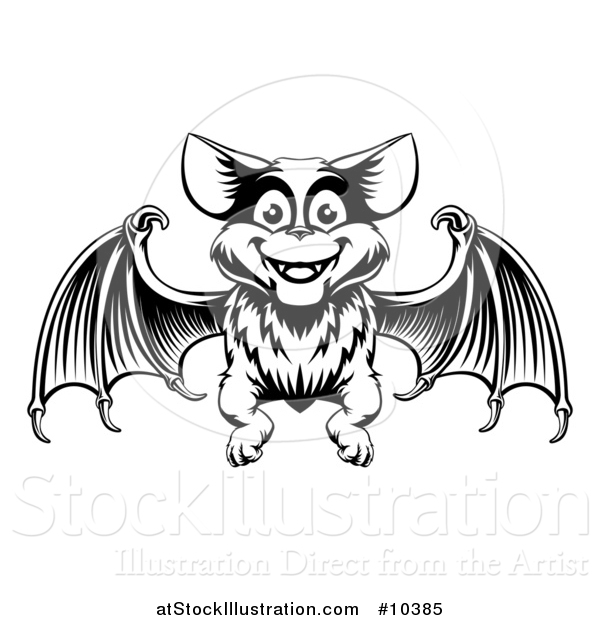 Vector Illustration of a Black Adn White Woodcut Flying Bat