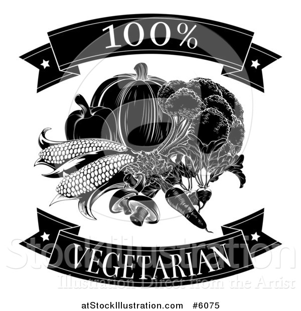 Vector Illustration of a Black and White 100 Percent Vegetarian Food Banners and Vegetables