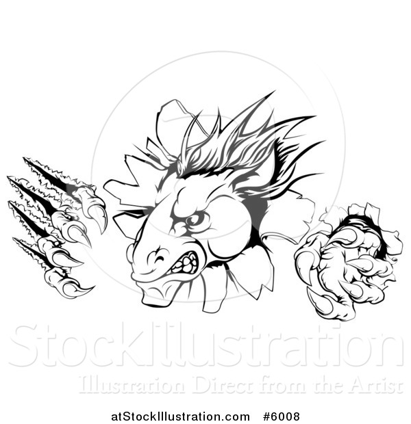 Vector Illustration of a Black and White Aggressive Horse Stallion Breaking Through a Wall with Claws