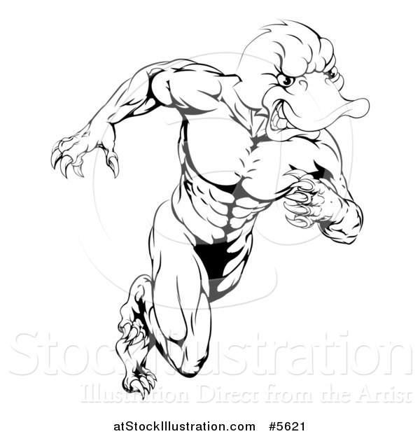 Vector Illustration of a Black and White Aggressive Muscular Duck Mascot Running