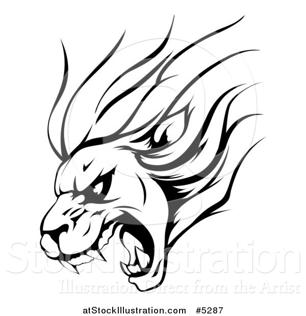 Vector Illustration of a Black and White Aggressive Roaring Lion Sports Mascot