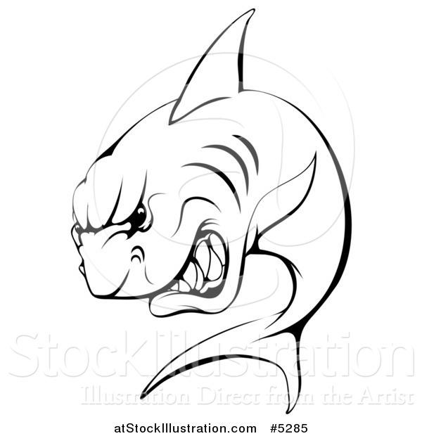 Vector Illustration of a Black and White Aggressive Shark Sports Mascot