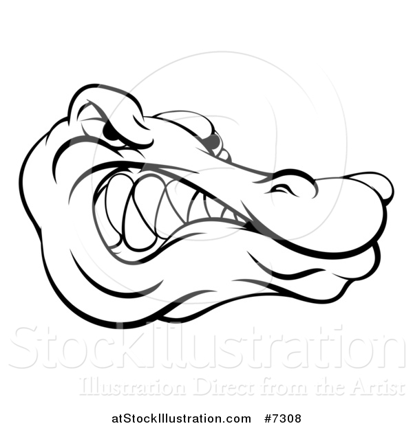 Vector Illustration of a Black and White Aggressive Snarling Alligator Mascot Head
