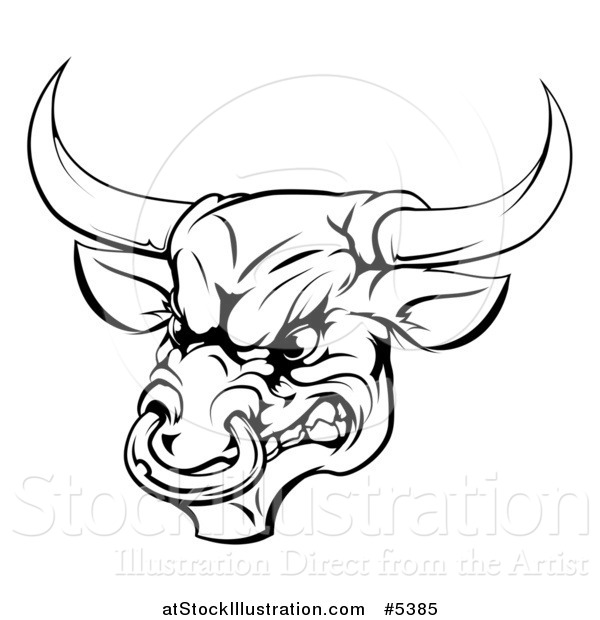Vector Illustration of a Black and White Aggressive Snarling Bull