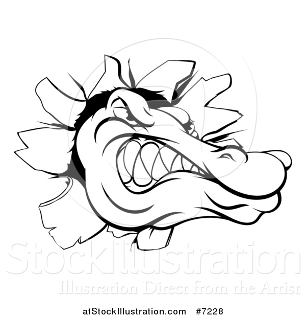 Vector Illustration of a Black and White Alligator or Crocodile Head Breaking Through a Wall