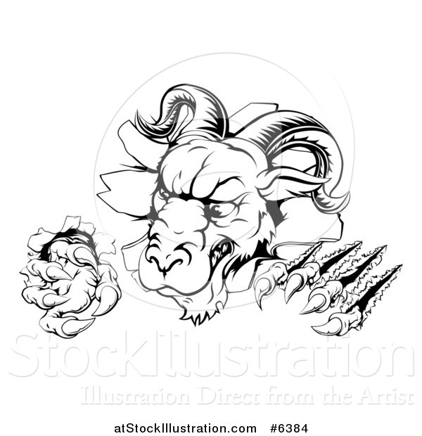 Vector Illustration of a Black and White Angry Ram Monster Clawing Through a Wall
