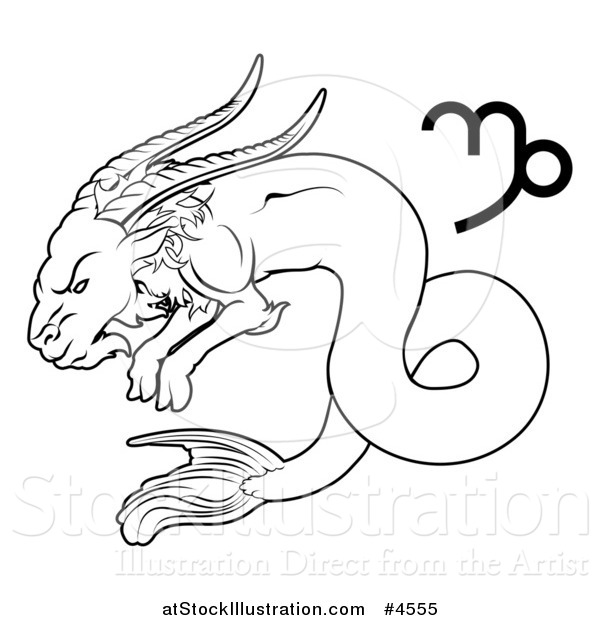 Vector Illustration of a Black and White Astrology Zodiac Capricorn Sea Goat and Symbol